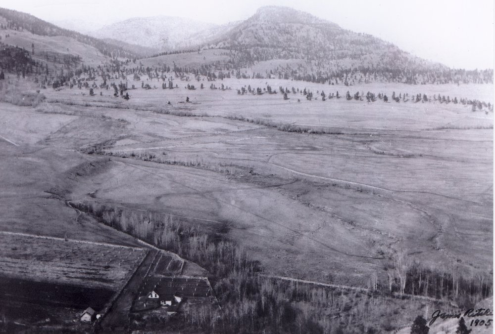 The flats of future downtown Summerland with James Ritchie home in left, previously Indian Reserve #3, 1905