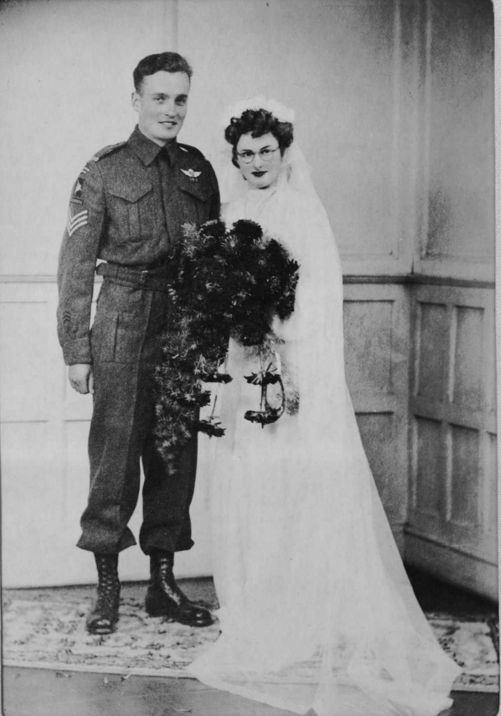 c. 1944. Wedding photo of Bruce Blagborne and Doiran Phillips.