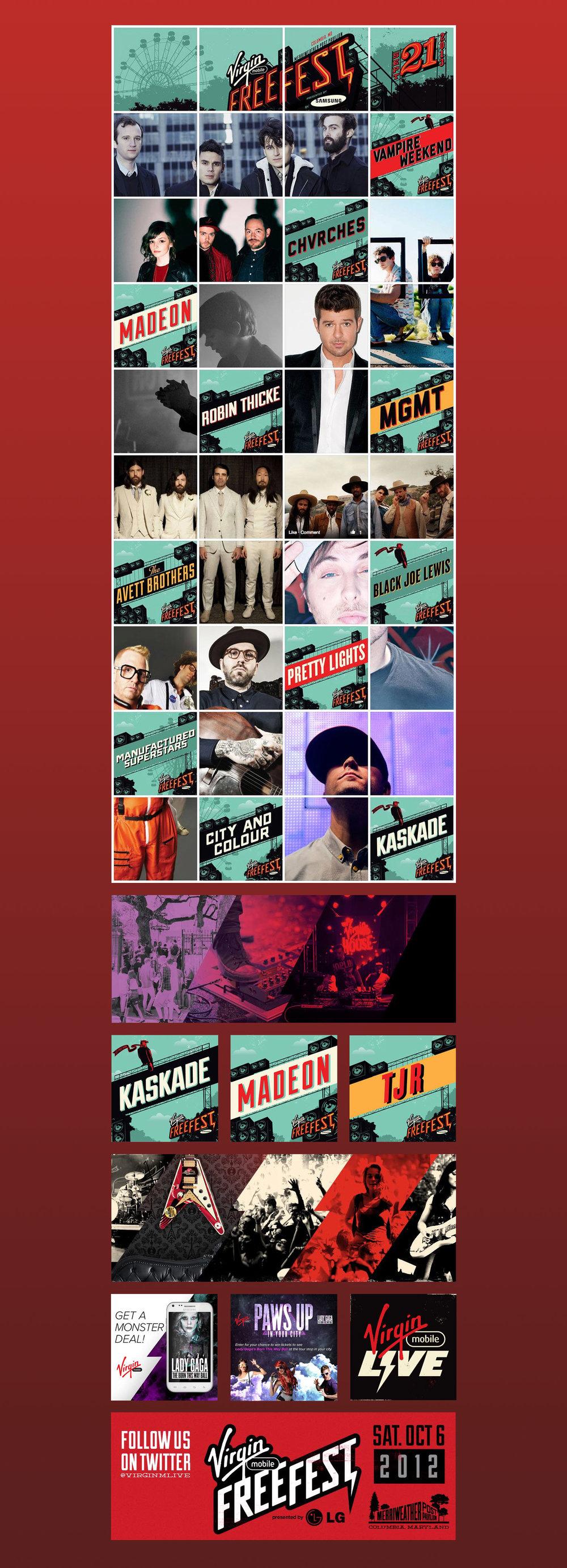 Promotional designs for Virgin Mobile Live. Freefest, concert promos, facebook social images