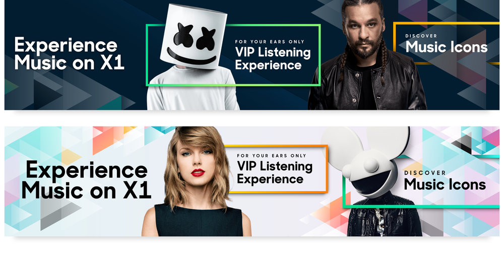 "A whole new brand - The goal of this campaign was to introduce customers to the music experience on X1. At first this was viewed as a small promotion, but our experience team wanted to give music a voice, and a brand that they could own on the platform. The result was a vibrant color palette and a nod towards the recognizable ""play"" icon."