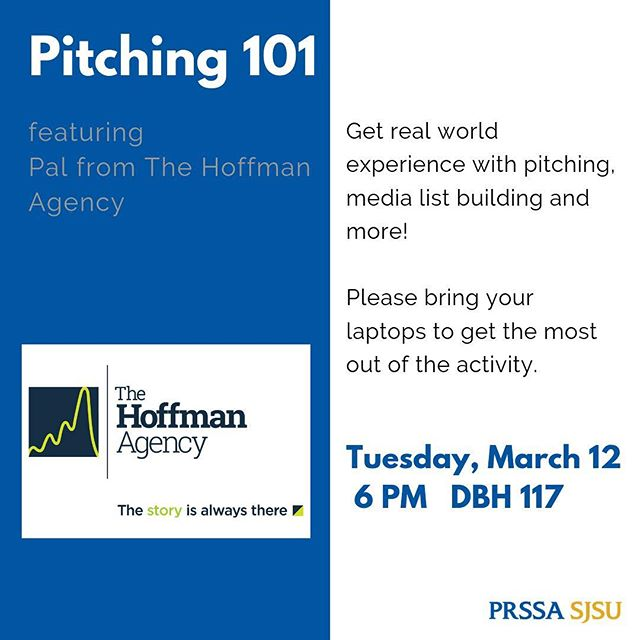 We are so excited to have a pitching workshop with Pal tomorrow! Pal is nearly 2 years into her PR career and is currently working at The Hoffman Agency. The workshop will focus on gaining 'real world' experience by seeing the pitching process at an actual PR agency. See you all tomorrow at 6 PM in DBH 117.  #Pitching #PR #PRSSA #SJSU #BayArea #SiliconValley