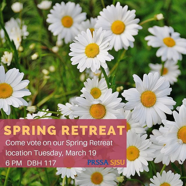 Today our publicity committee will be pitching different locations for the Spring Retreat! Come listen to their pitches and then you'll get the chance to vote on your favorite place. We can't wait to see what publicity committee has come up with! All publicity committee members and students attending the regional conference are required to attend the meeting. ☀️🌷