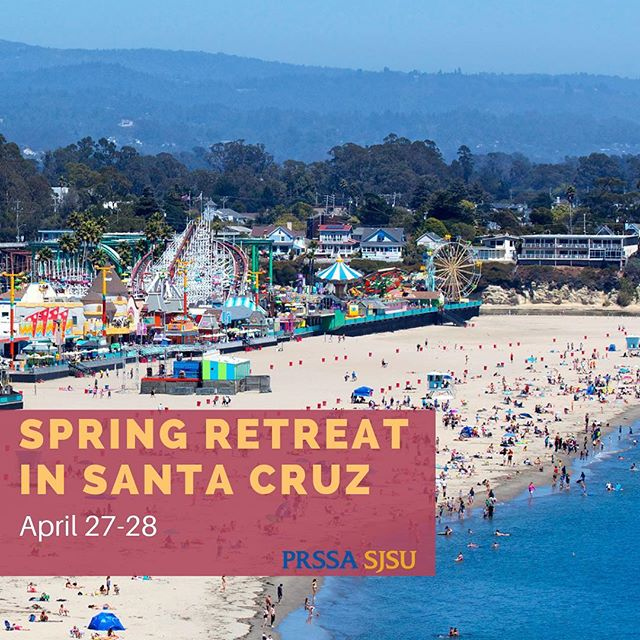 It's official! We have decided on our Spring Retreat location and we are SO excited! Grab your beach towels and sunglasses for our trip to Santa Cruz April 27-28. ☀️🕶🌊🏖 #PRSSA