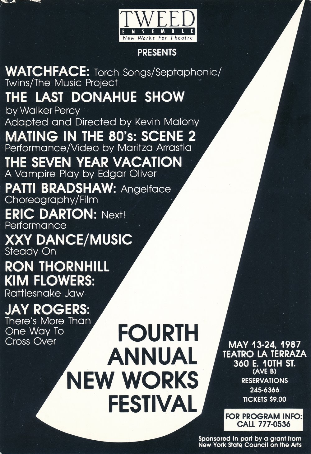 NEW WORKS FESTIVAL #4, 1987 - EL BOHIO ARTS CENTERWatchfaceKevin Malony, Walker Percy's The Last Donohue ShowMartiza Arristia, Mating in the 80'sEdgar Oliver, The Seven Year VacationPatti Bradshaw, AngelfaceEric Darton, NEXT!XXY Dance/Music, Steady On (Music by Philip Glass)Ron Thornhill/Kim Flowers, Rattlesnake JawJay Rogers, There's More Than One Way to Cross Over