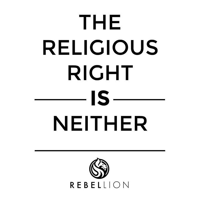 "🦁 The Religious Right is Neither. ~ 🔥🔥HOT TAKE🔥🔥 ~ Not trying to piss anyone off with this, just saying it as we see it. And when we say the religious right we are talking about all religious extremists, who are taking the beautiful messages and intentions behind their founder(s) teachings and are hypocritically, manipulating them to forward their agendas and causes inciting hate, terror, and murder, COMPLETELY going against the actual teachings of their founders. ~ A 'religion' that denies the value and humanity of others is an extremist religion. Whether those actions lead to direct harm, or simply reduce protections through legislation- extremist ideology seeks to create one group of people that is believed to be more valued than another. ~ If the religious right actually believe they are morally right to proceed with the sensational rhetoric that they have created, and continue to shove down our throats, they should at least take responsibility for the fallout. ~ They cannot call abortion murder and then plead innocence when their unstable followers hunt down the providers. ~ They cannot claim Jesus or Muhammad as their Messiah when they are literally doing everything, EVERYTHING against their actual teachings and beliefs!! ~ They cannot claim to observe the laws of Torah and then gun down Yitzhak Rabin because he was trying to bring some peace and stability to the Middle East. ~ In just the last 2 years dozens of ""religious freedom"" bills have been introduced across the United States with the sole purpose of reducing or eliminating protections for the LGBT community in housing, employment, benefits, even where they can go to the bathroom. The problem, of course, is that ""religious freedom"" is based on nothing more than a belief. Governments who support ""religious freedom"" over the equal human rights and dignity of others condone, and even endorse discrimination. In any such environment religious extremism is the outcome, threatening the very existence of democracy. ~ **CONTINUED IN COMMENTS**"