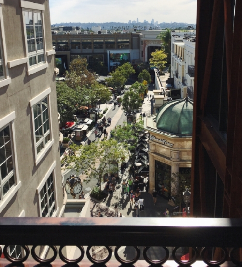 A glimpse of the glamour and action that awaits at the Americana. From the carpeted parking lot stairwell... (not joking. Parking has carpet in LA)
