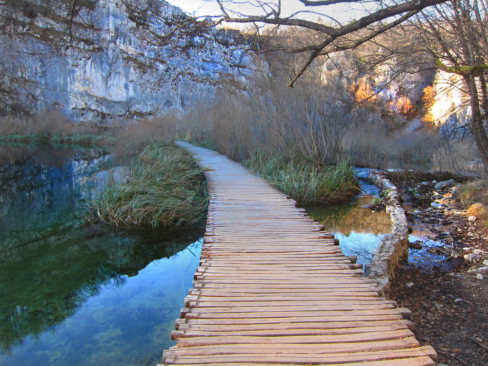 Wooden trail of Plitvice Lakes.