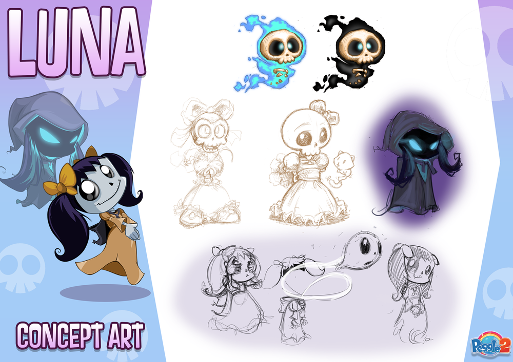 Concept art for one of the new masters, Luna. She's a ghost girl who transforms into a will-o'-wisp when her power is activated. She lives in a swampy graveyard which we visit at night. Her power brings back pegs in ghost form so they can be re-harvested for extra points.