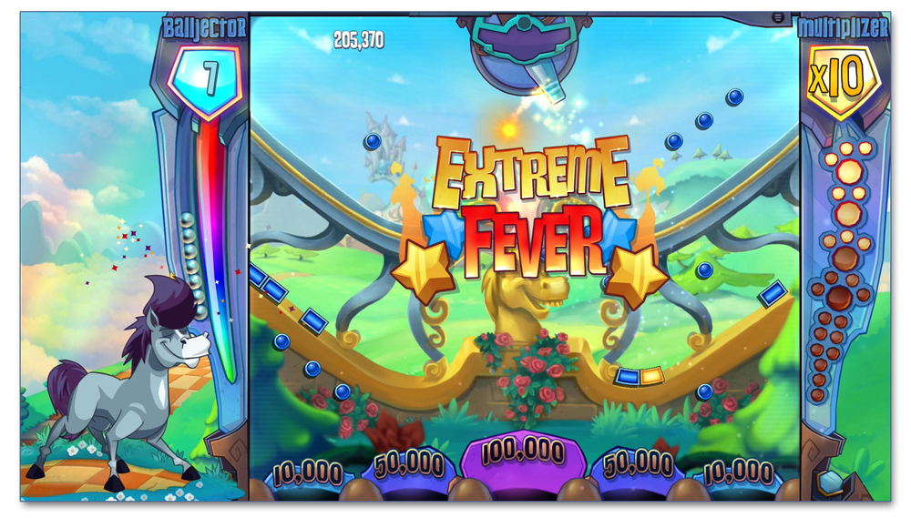 A still image during an Extreme Fever winning moment with all elements in place (master, backgrounds, peg board, HUD, and Fever sequence).