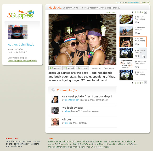 """The web component of the 3Guppies experience. Users send pictures and texts from their phone to their profile. Followers (""""fans"""")of that user receive these pics and texts on their phones and/or via their own web profile. (2007)"""