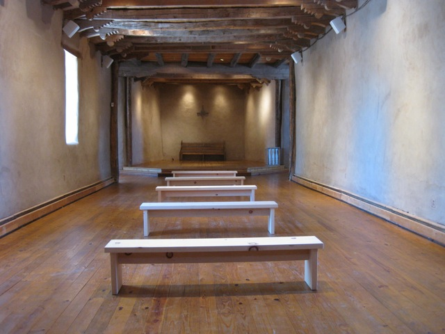 The Very Rich Hours - 2009. 8-channel audio, five wooden benches (constructed by Mark Middleton). Environmental sounds, spontaneous spoken descriptions of New Mexico landscapes by ten people, four voices singing the Latin names of endangered species. Presented in SiteWorks, curated by Kathleen Shields for Land/Art, organized by 516 Arts. Old San Ysidro Church, Corrales, NM (Aug. 27 - 30 & Sep. 4 - 7, 2009). LISTEN