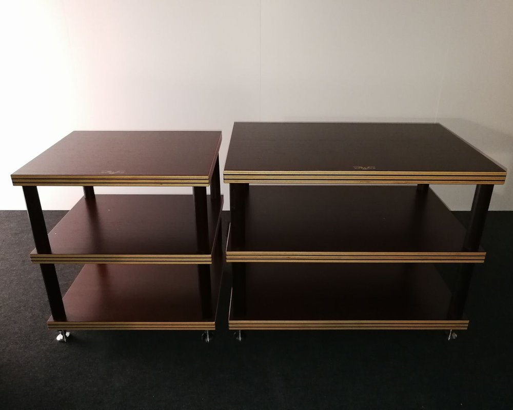Equipment rack - These 3 levels equipment racks are built from the same original multiple layer design used for speakers where two heavy damping sheets were incorporated into the middle of the solid beech wood multi-layers.Not only does it provide a stable support, but also the elimination of unwanted vibration.There are two sizes available: