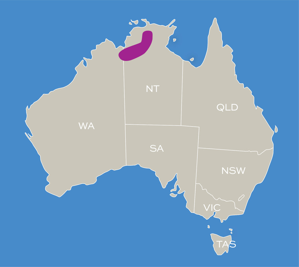 Map of where birdwatching is good in the Northern Territory