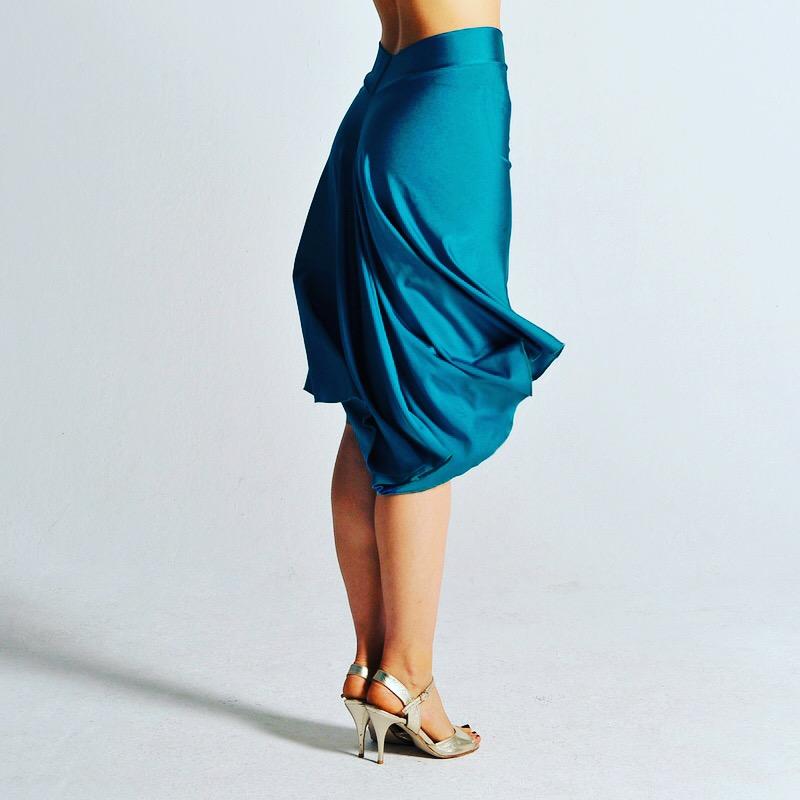 A classic short front long back tango skirt!