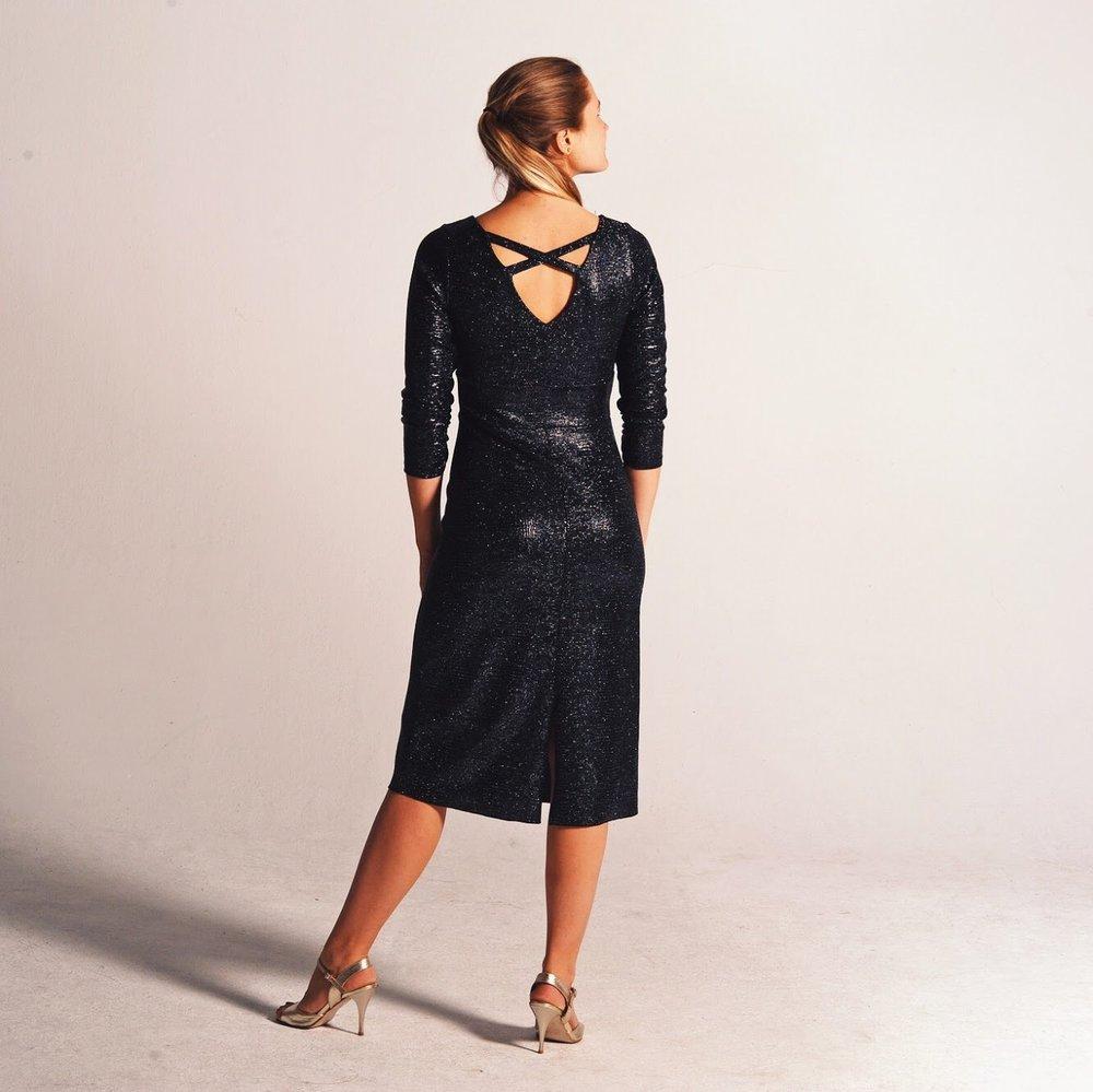 Tango dress  REGINA in starry black fabric