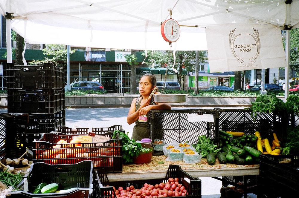 Fruit cart in Harlem. Yashica T2, Kodak Gold 200.