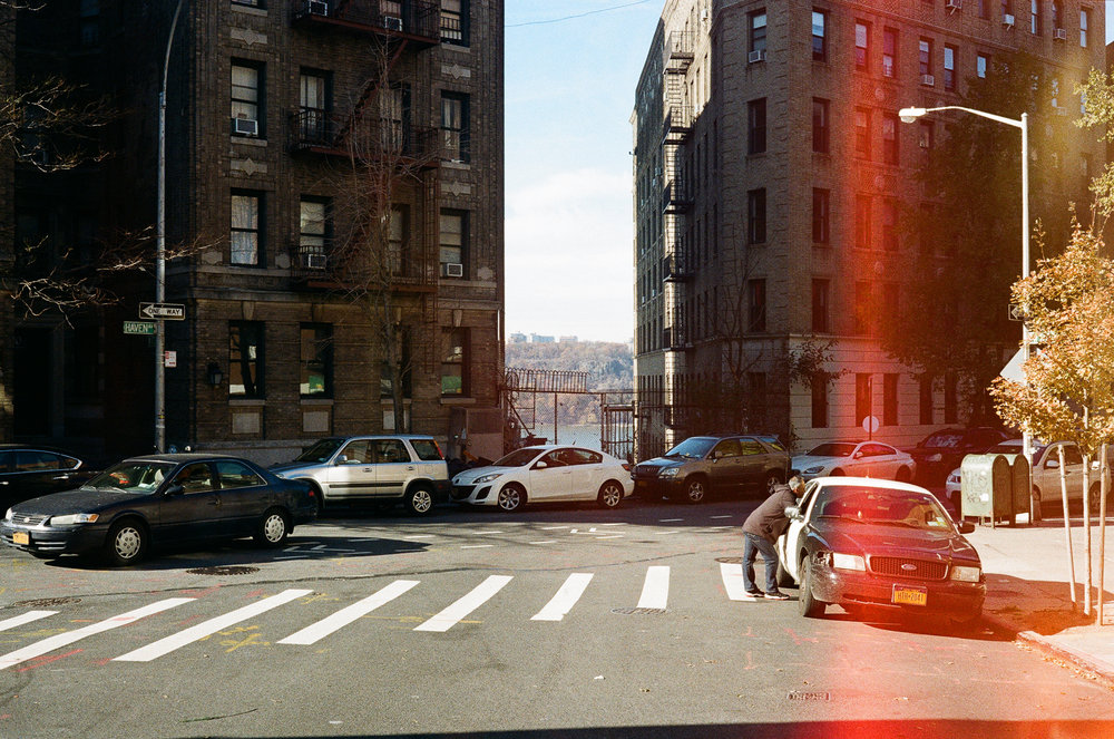 172nd and Haven Avenue in Washington Heights. Canonet QL17, Kodak Gold 200.