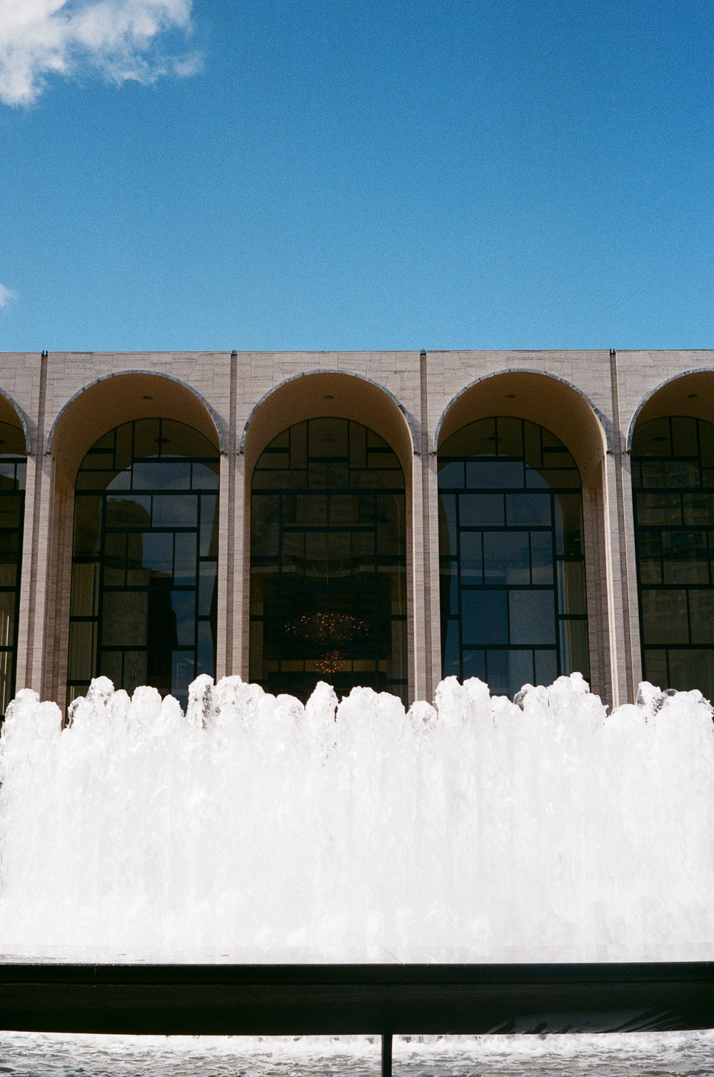 Lincoln Center fountains. Canonet QL17, Fuji Superia X-tra 400.