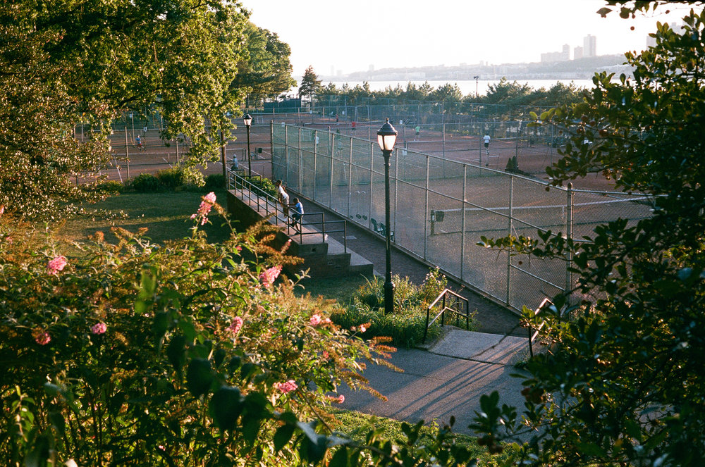Tennis along the Hudson river. Canonet QL17, Fuji Superia X-Tra 400.