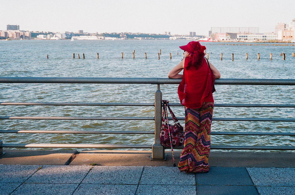 A woman on Christopher Street pier.  Canonet QL 17, Fuji Superia X-Tra 400.
