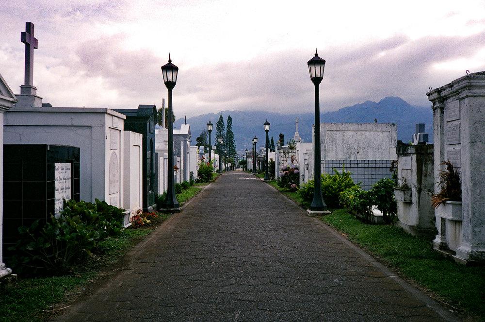 San Jose Cemetery in Costa Rica. Yashica T2, Fuji Xperia X-tra 400.