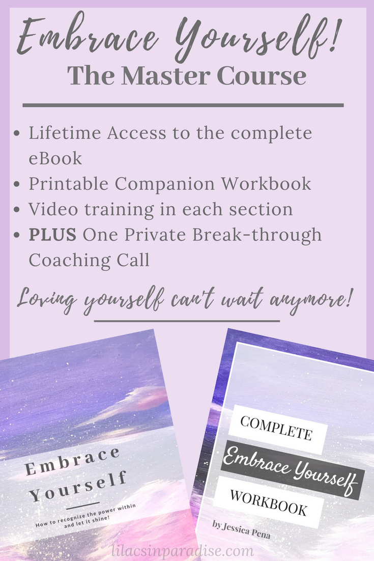 Embrace Yourself: Master Course - This course is jam-packed full of value you'll love! Free lifetime access to the Embrace Yourself eBook, a printable companion workbook, video training and discussion with each section, and a private coaching session with Jessica Peña for less than the cost of standard coaching!If you're SERIOUS about transforming your life and you are READY to take your life into your own hands, this course is for you.Sure, you can buy the eBook and go on your merry way...but with this course you get access to additional guiding questions + support, additional information in the video trainings,AND a rare invitation to book a full-length private coaching session with no commitment!What are you waiting for?