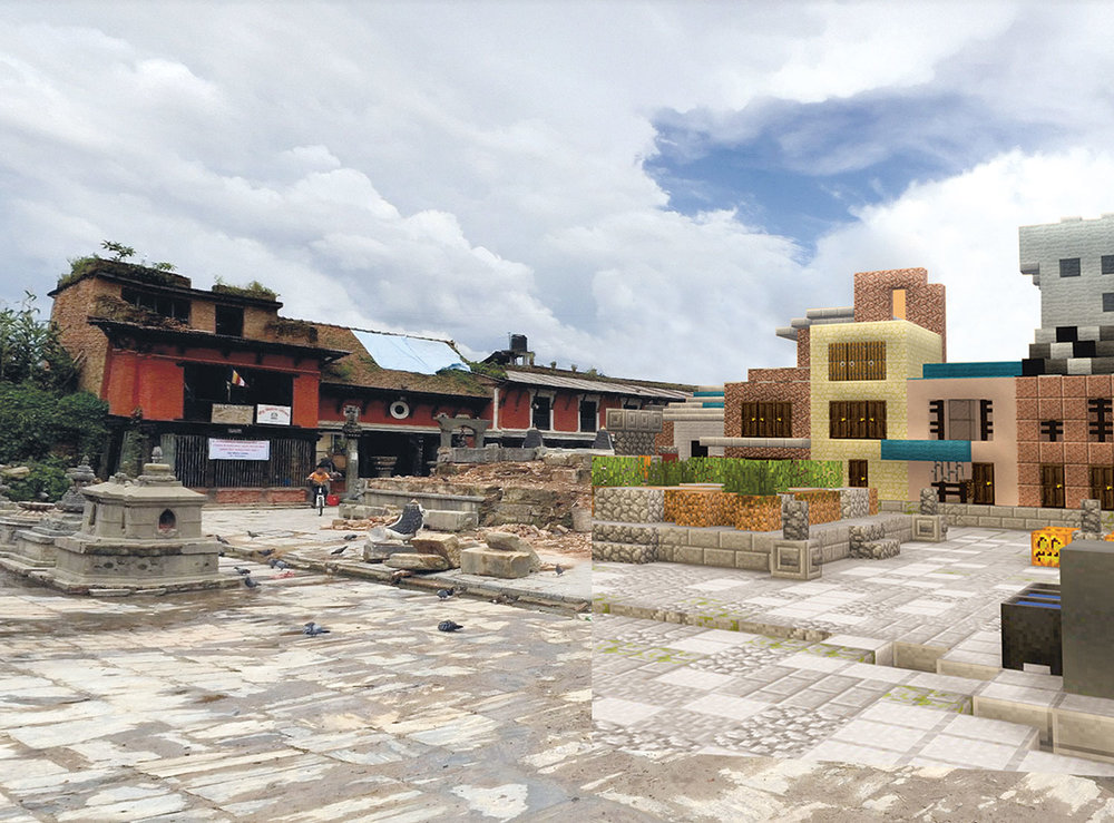 In response to the 2015 earthquake in Nepal, which destroyed the Rato Machhendranath Temple, UN-Habitat ran a Block by Block workshop to reimagine the space using Minecraft.