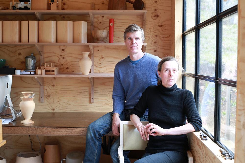Pierre and Charlotte Julien in their Tasmanian studio