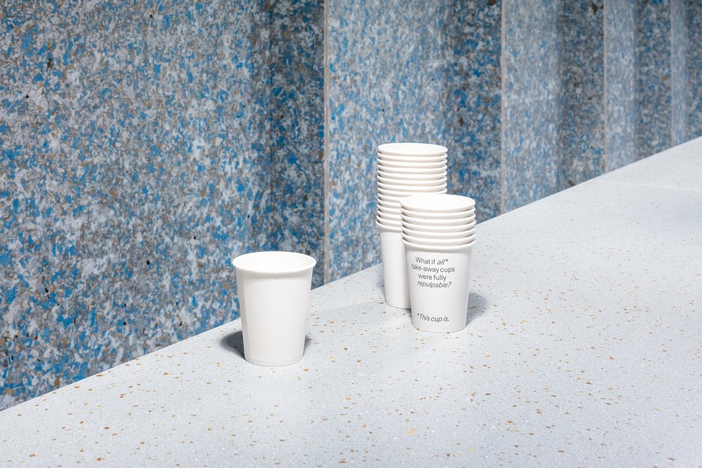 Fully repulpable cups by  Kotkamills  for the Zero Waste Bistro.  Photo by Nicholas Calcott
