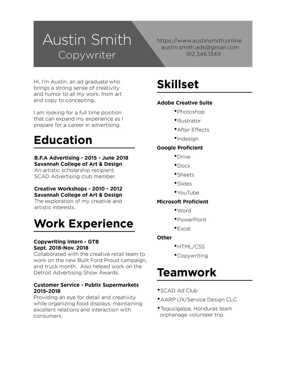 contact resume austin smith copywriter