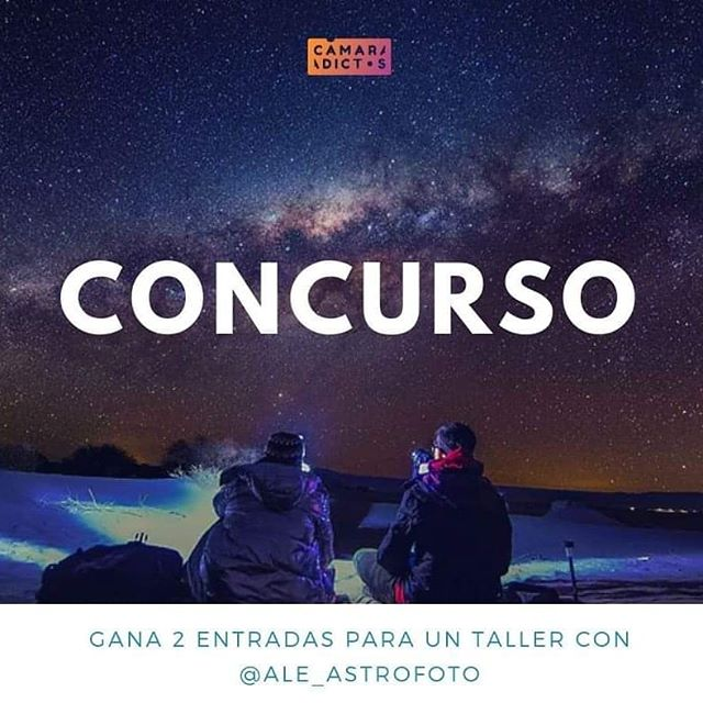 Hoy tenemos una gran sorpresa 🎉🎉 Si quieres aprender los todos secretos de la astrofotografía, ¡llegó el momento perfecto!  Junto a @ale_astrofoto estaremos sorteando un premio de dos entradas para su taller de astrofotografía en San Pedro de Atacama, para asistir a una de las jornadas nocturnas entre el 28 de noviembre y 12 de diciembre. 💫💫💫💫💫 Solo tienes que:  1- Seguir a @camaradictos 2- Suscribirte a nuestro canal de Youtube (youtube.com/camaradictos) 3- Mencionar a 3 amigos en los comentarios 😜 . . 🚨🚨🚨🚨🚨Es importante que consideres que el taller se realizará en San Pedro de Atacama, por lo que no participes si no estarás en la zona durante esas fechas.  El premio no incluye pasajes ni estadía 🚨🚨🚨🚨🚨 . . La duración del taller es de 4:30 horas. . *Límite de participación hasta el lunes 12 de noviembre a las 20:00 horas. **Publicación de ganadores martes 13 de noviembre . . . . . . . . #camaradictos #astofotografia #sanpedrodeatacama #startrail #taller #sorteo #photography #fotografia