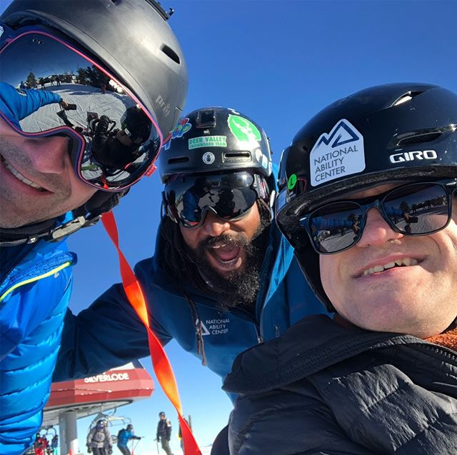 Rad day volunteering at the @nationalabilitycenter skiing with Pablo and Chris. Not joking when I say we spent the entire morning trying to catch air on Jonesy's #irideparkcity #nationalabilitycenter #runninglaps #maybedancingalso #crushedit #parkcity