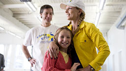 Jamie Moyer, camper Riley, and Karen Moyer. Photo: Justice Beitzel