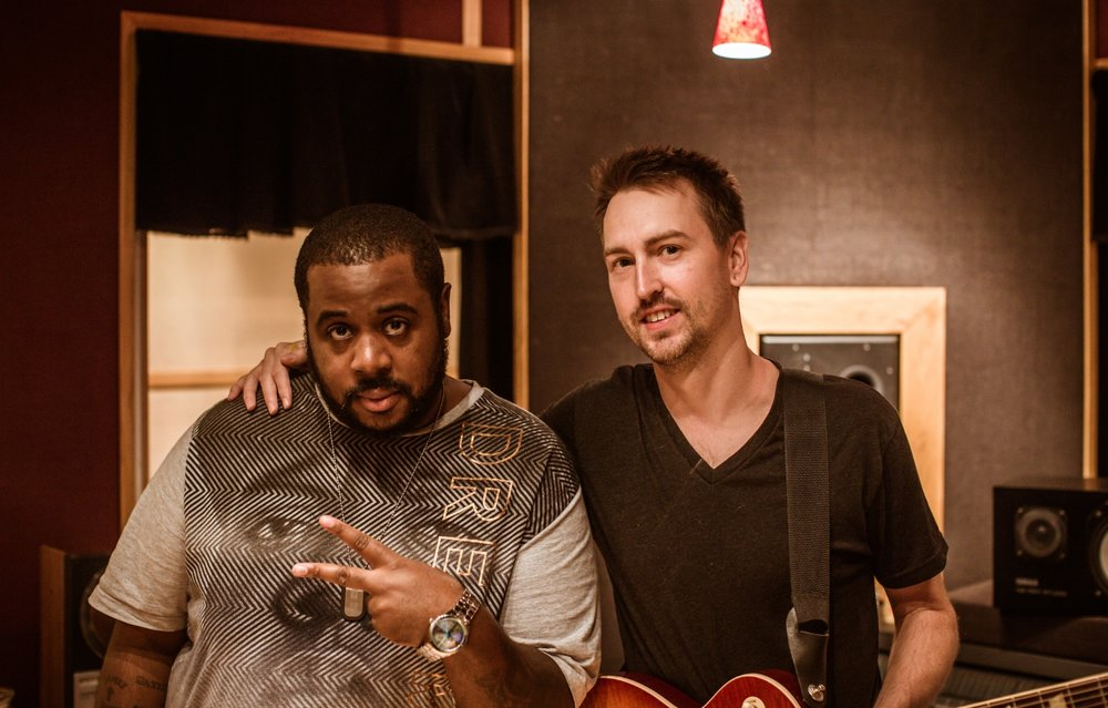 Gerard B. and Jason Andrews at Spotlight Sound Studio