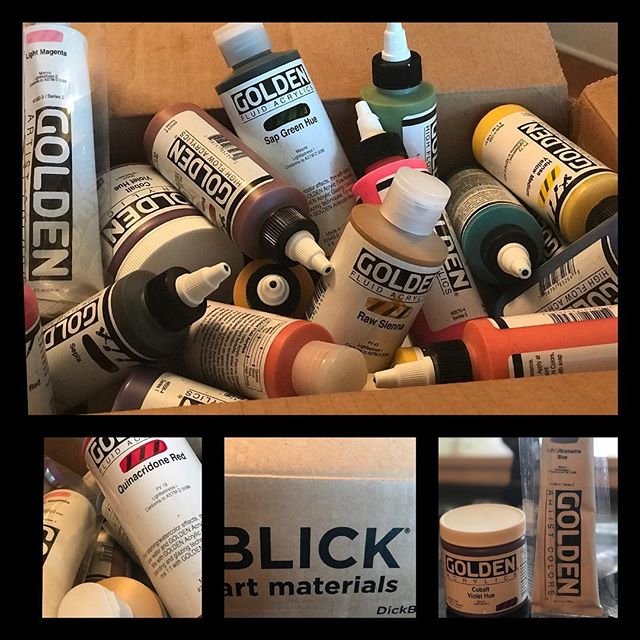It's a great Friday when a big box from @blickartmaterials arrives at your door!!!!! Fluid acrylics, high flow, heavy body and more... all #goldenpaints and ready to do their thing on Canvas!!! 🖌🎨🎨🎨🎨