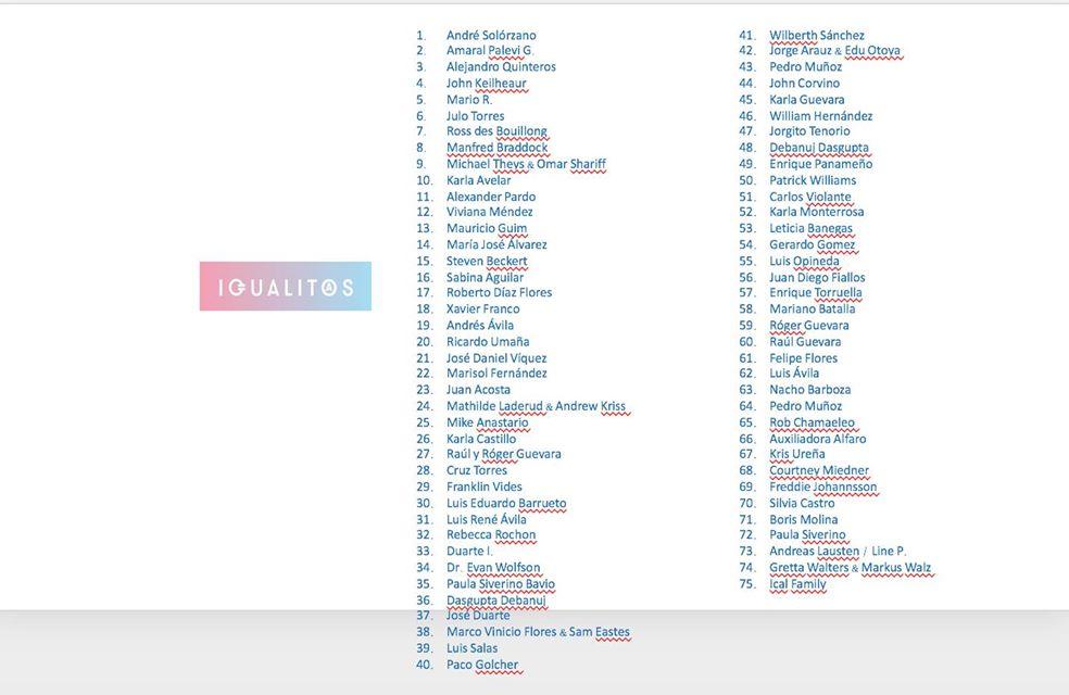 Listado de personas a los cuales Fundación Iguales Agradece el apoyo