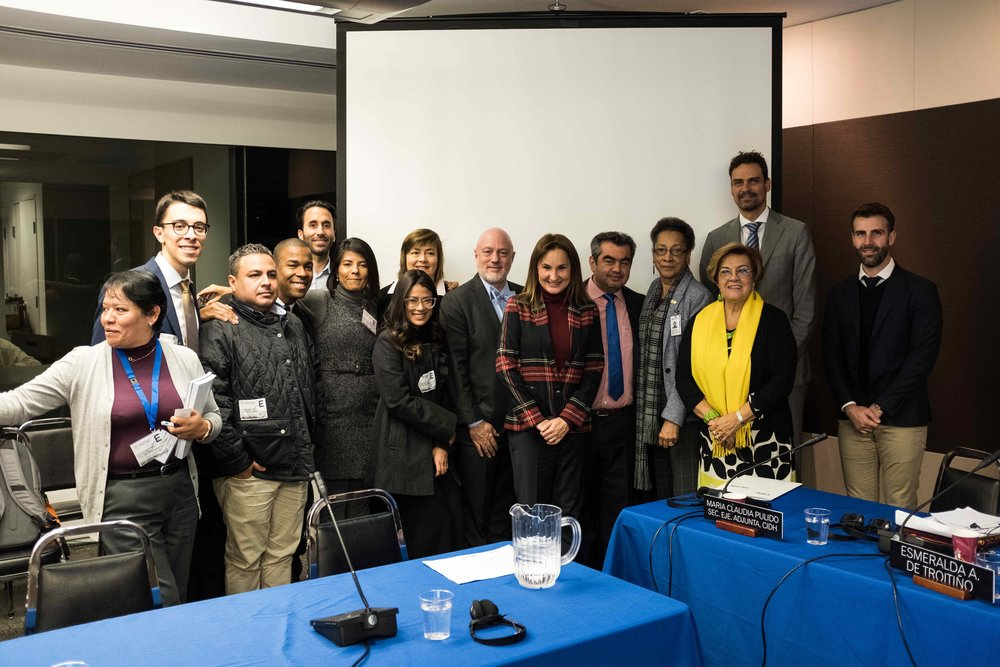 Representes de sociedad civil y de la Comisión Interamericana de Derechos Humanos, entre los cuales destacan activistas de la región como Hunter Carter, Nisa Sanz, Ivan Chanis Barahona, Cesar Francia, Luis Barrueto, entre otros.