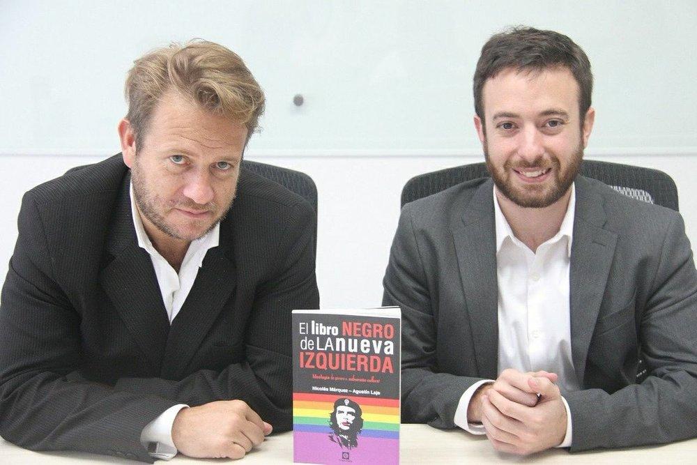 Nicolás Márquez y Agustín Laje, autores del libro Negro de la Nueva Izquierda