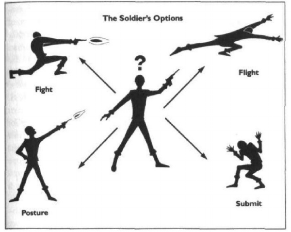 Image from Dave Grossman's  On Killing: The Psychological Cost of Learning to Kill in War and Society.  While you're probably not a soldier, it's really shows the point of the four responses.