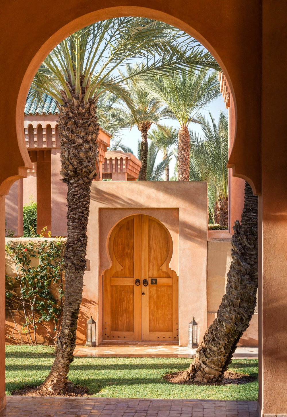 The rose pink walls of Amanjena glow in the sunlight, echoing those of old Marrakech.