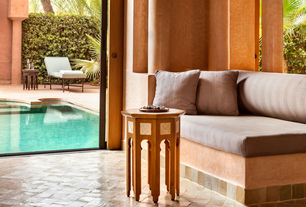 One of the suites with a heated swimming pool in the private garden.