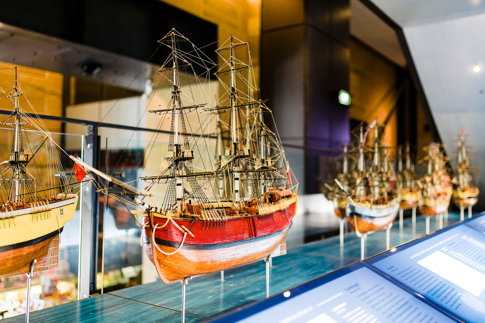 First Fleet ship models display at Museum of Sydney. Models !E Lynne and Laurie Hadley, photo !E Haley Richardson 