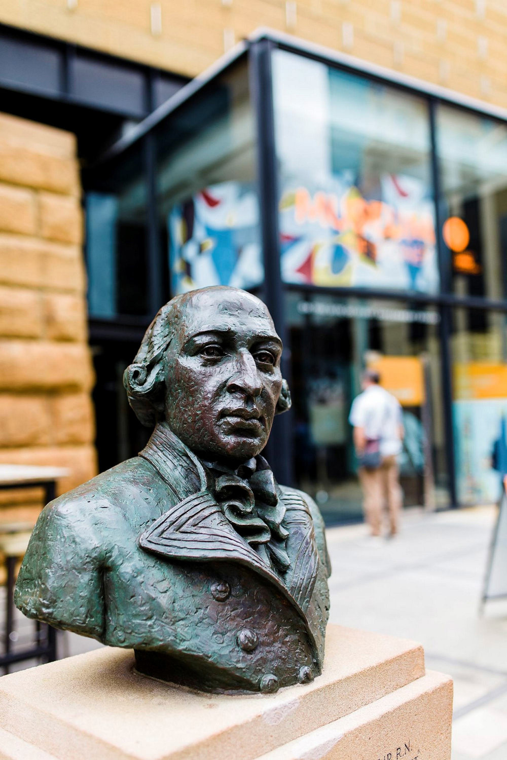 Bust of Governor Arthur Phillip outside the Museum of Sydney. Photo !E Haley Richardson