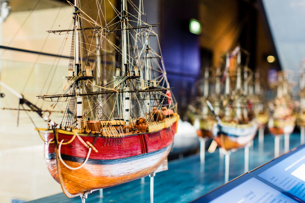 First Fleet ship models display at Museum of Sydney. Models ©Lynne and Laurie Hadley, photo ©Haley Richardson 