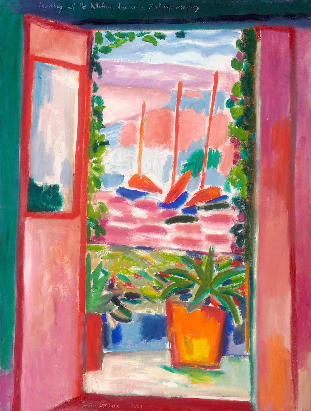Looking out the kitchen door on a Matisse morning, 2007, acrylic on canvas, 122 x 91 cm