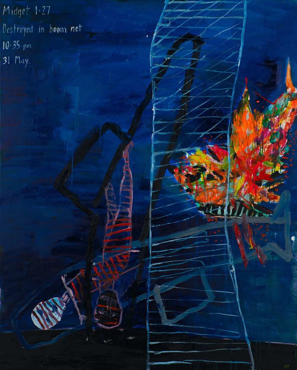 Caught in the net, 2011, oil and acrylic on canvas, 152 x 122 cm