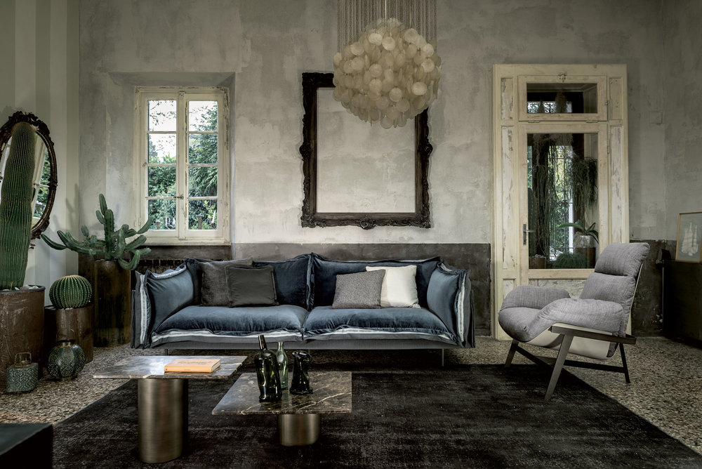 Grant Sofa, Dandy Home.  The Grant sofa is an exciting addition to the collection. The frame is dressed in sauvage soft leather, in other words, the cremé de la cremé of leathers. The button detail is a nod toward fashion forward Italian design.
