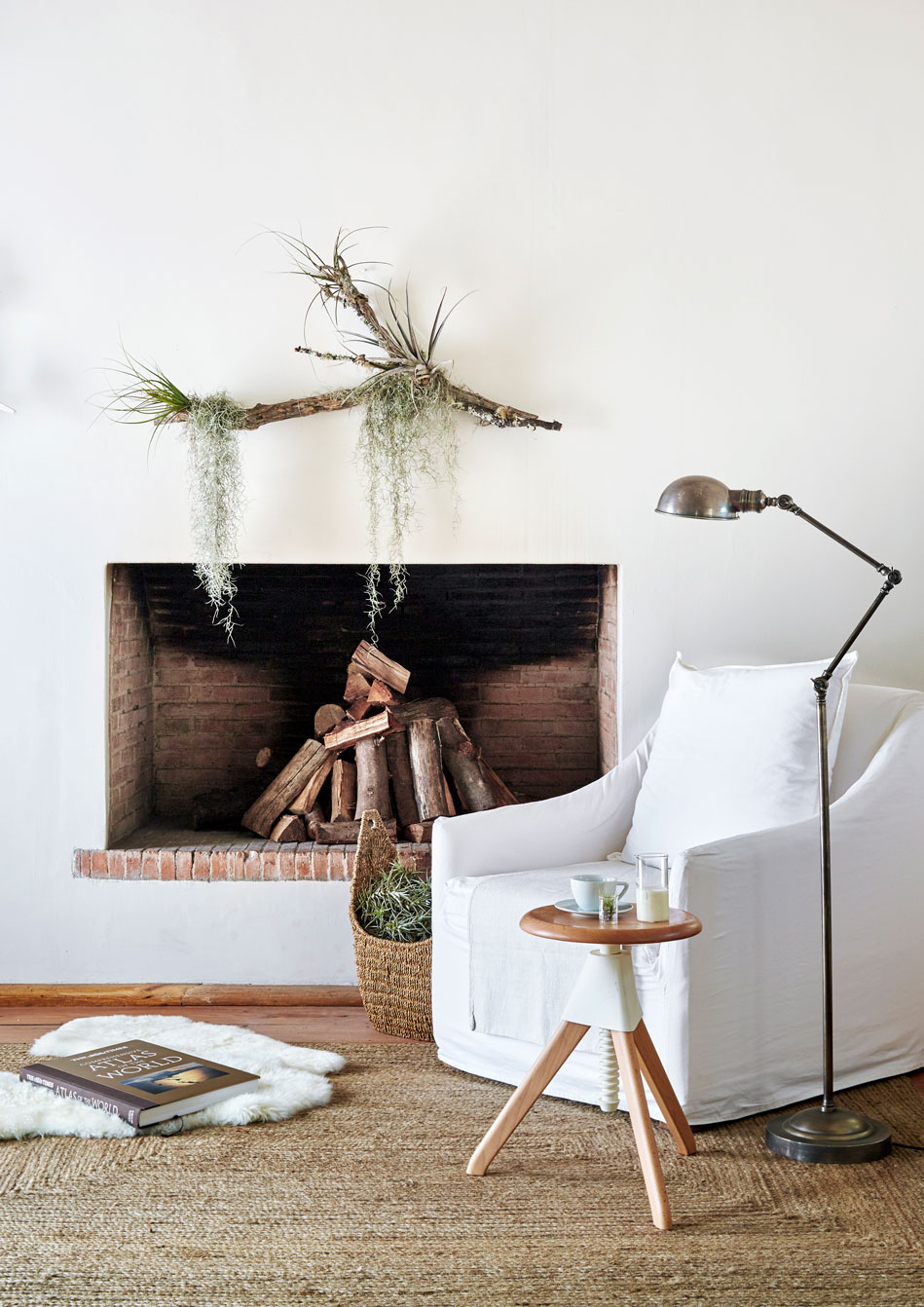 ARTISTIC LICENCE   Look to nature and replace that painting or print above the fireplace with an organic, textured sculpture that lives and breathes. Affix a variety of air plants to a piece of driftwood using thin craft wire. Hang the driftwood sculpture from a picture hook or nail as you would a framed painting (use craft wire or transparent fishing gut, depending on the weight of the driftwood). 