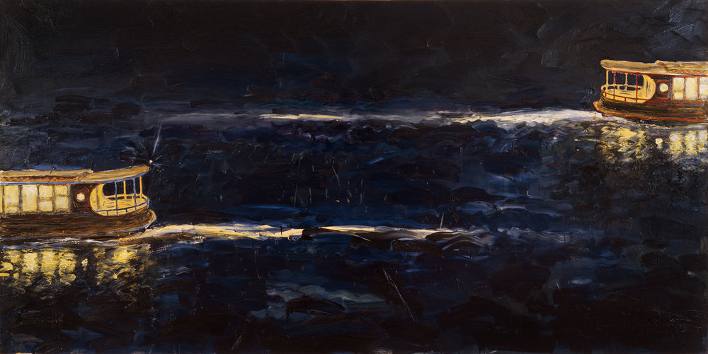 Passing ferries,  Peter Kingston, 1999, oil on canvas. Photo Beagle Press. Courtesy Peter Kingston and Australian Galleries, Sydney and Melbourne © Peter Kingston