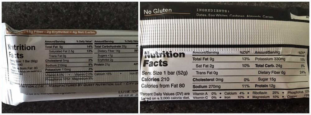 "A label comparison of  a Quest Chocolate Chip Cookie Dough bar and a RxBar protein bar.  It's a blowout in terms of which bar is more ""macro-friendly"" and easier to implement in most diet protocols."